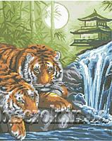 Схема  для вышивки   бисером   Тигры  у воды