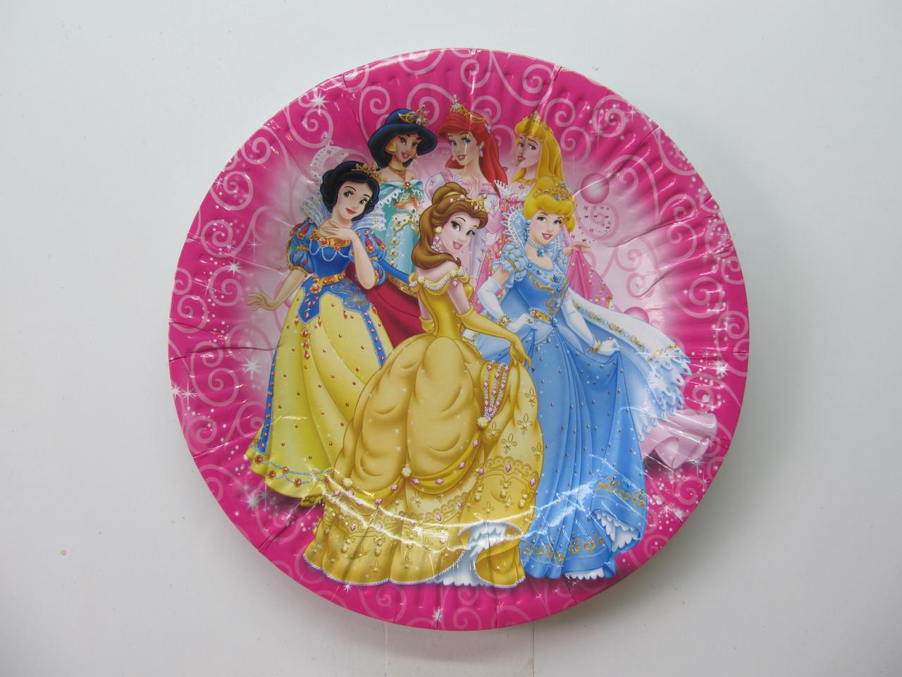 """Тарелки праздничные бумажные одноразовые """" Принцессы """". 18см.10 шт. Посуда одноразовая детская"""