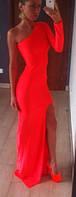 Платье в пол на одно плечо с длинным рукавом, трикотажное, все размеры
