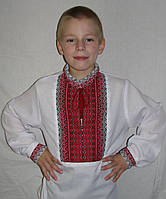 Детская вышиванка  для мальчика, белый лен, 122-158 см