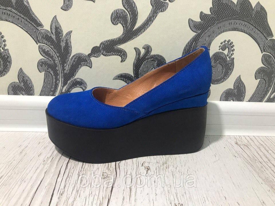 Туфли синие на платформе купить украина