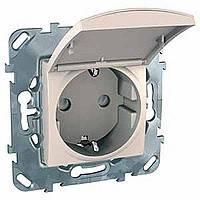 Розетка с заземлением и крышкой сл.кость Schneider Electric - Unica (Шнейдер Электрик Уника mgu3.037.25TA)