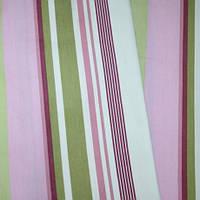 Ткань для шторы в детскую voklio полоски фрез-оливка-молочный
