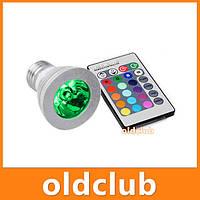 Лампочка многоцветная e27 + пульт