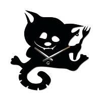 Часы Настенные Детские Котенок с вилкой Cat with a Fork