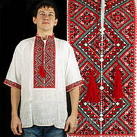 Вышиванка мужская с коротким  рукавом - льон