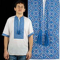 Вышиванка с коротким рукавом в голубых тонах