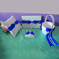 Свадебный набор аксессуаров для синей свадьбы: корзинка, подушечка, книга пожеланий, ручка на подставке