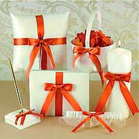 Свадебный набор  в оранжевом медном цвете: корзинка, подушечка, книга пожеланий, ручка, свеча