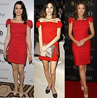 Платье с бантами на плечах стильное красного цвета