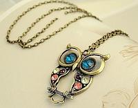Изысканное ожерелье Сова, красочный кулон, украшенный горным хрусталем