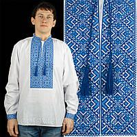 Сорочка с длинным рукавом вышитая голубыми нитями