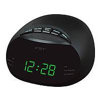 Будильник с радиоприёмником vst-901-2, зелёная подсветка, настольные электронные часы, радио fm/am, 220в