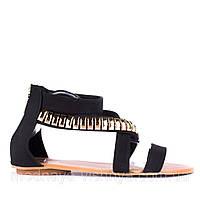 Черные высокие сандалии с модным декором