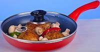 Сковорода Hilton 2430 FP красная 24см, с крышкой (ИД)