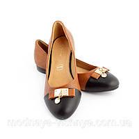 Женские коричневые туфли на низком ходу