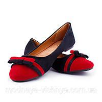 Модные замшевые двухцветные балетки с бантиком (красный)