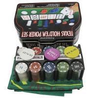 Покерный набор 200 фишек, 2 колоды карт, коврик