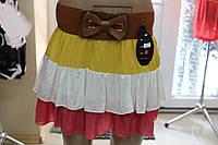 Летняя юбка хлопковая рюши, желтый-белый-коралл р.42-48 Венгрия