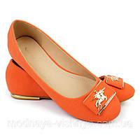 Модные оранжевые балетки, 37 размер - распродажа!