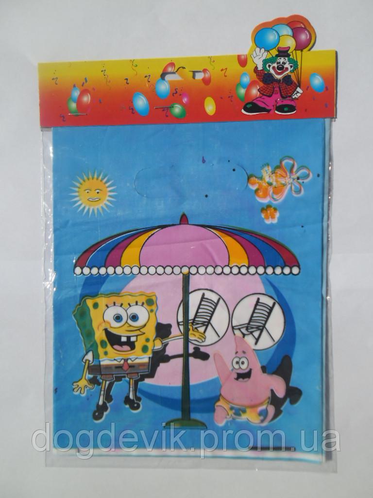"""Пакеты подарочные, сумочки полиэтиленовые детские для подарков """"Боб и Патрик под зонтиком"""""""