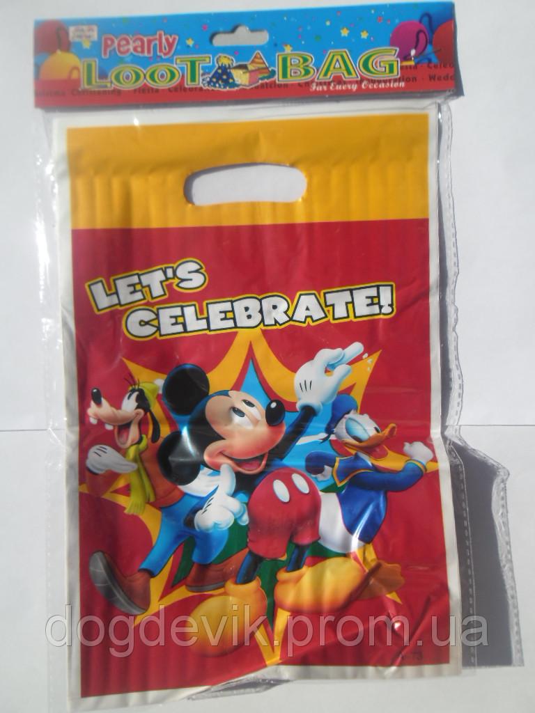 """Пакеты подарочные, сумочки полиэтиленовые детские для подарков """"Микки, Дональд, Плуто"""""""
