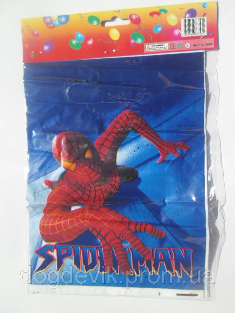 """Пакеты подарочные, сумочки полиэтиленовые детские для подарков """"Человек-Паук с золотыми глазами"""""""