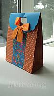 Пакет подарочный с бантиком оранжево-голубая(код 02972)
