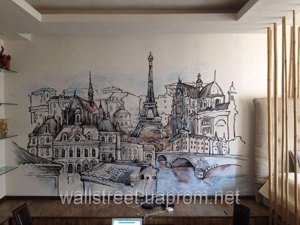 рисунок на стене в интерьере своими руками