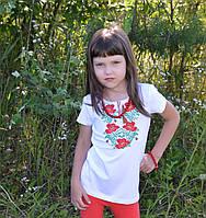 """Вышитая футболка для девочки """"Маки крестиком"""" (короткий рукав)"""