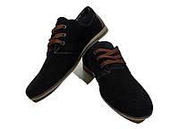 Мокасины подростковые натуральная замша черные на шнуровке (Д377чз)