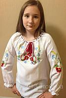 Вышиванка  для девочки подростковая, маки, лен 100%