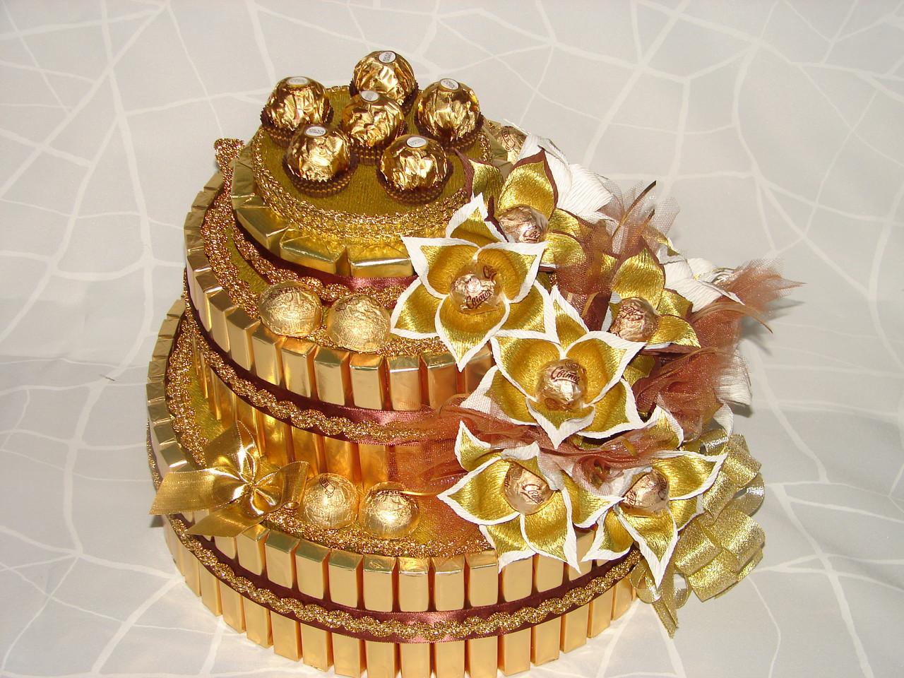 Торт на 50 лет женщине своими руками из конфет 41