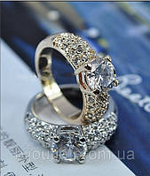 Кольцо ювелирная бижутерия покрытие родий декор кристаллы Swarovski