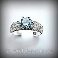 1023 Серебряное кольцо Золушка 925 пробы с камнями