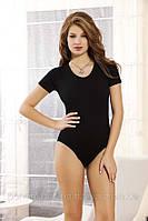 Женское боди с коротким рукавом чёрное