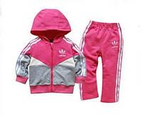 Детский малиновый спортивный костюм Adidas (реплика) с вставками