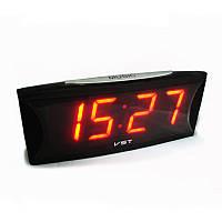 Электронные настольные часы vst 719-1, led-дисплей, красная подсветка цифр, будильник с отсрочкой сигнала