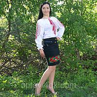 Женская вышитая рубашка с длинными рукавами и яркой красно-черной вышивкой