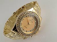 Женские часы ROLEX -  циферблат gold, цвет корпуса и браслета золото.