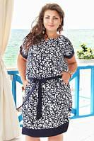 Летнее платье для полных девушек, свободного покроя из штапеля, темно-синий узор на белом