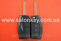 Ключ Ford mondeo, focus, fusion выкидной 3 кнопки 433MHz чип 4D лезвие HU101 Вид Банан