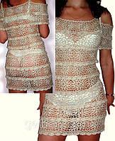Вязаное льняное платье ручной работы с рюшами