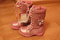 Зимние сапоги для девочки розового цвета. Р. 29, 30. Натур. замш / кожа