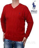 Яркий мужской пуловер c v-вырезом,красный.Ralph Lauren-110