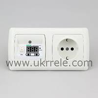 Терморегулятор для теплого пола, терморегулятор с розеткой, терморегулятор комнатный (16А/3кВт) РТ-16/2Р1