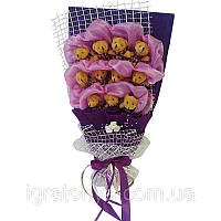 Букет из мягких игрушек Мишки 11 в фиолетовом конверте