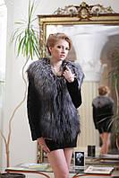 Полушубок жилетка из лобиков норки и финской чернобурки Silver fox and sculptured mink fur coat and vest