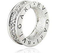 Кольцо-подвеска реплика Bvlgari (цвет серебро, стразы)