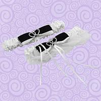 Подвязка для невесты белая с черным бантиком